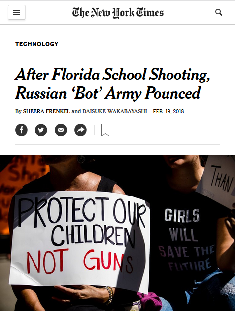 NYT: After Florida School Shooting, Russian Bot Army Pounced