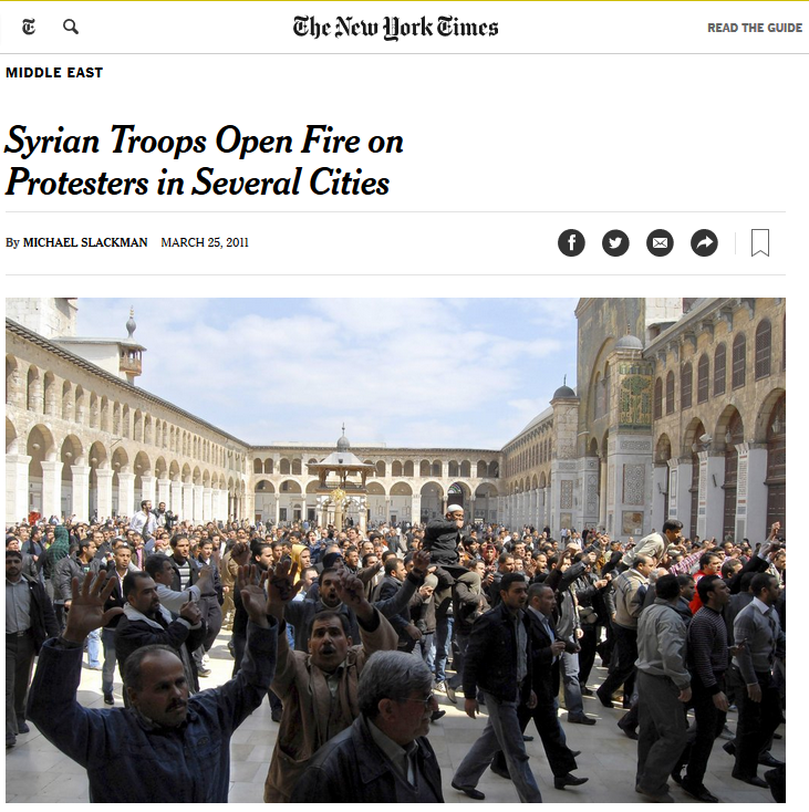 NYT: Syrian Troops Open Fire on Protesters in Several Cities