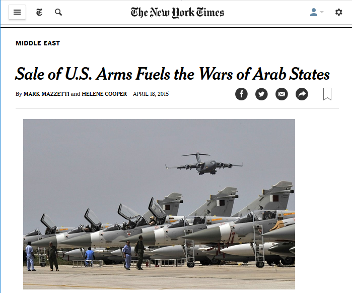 NYT: Sale of US Arms Fuels the Wars of Arab States