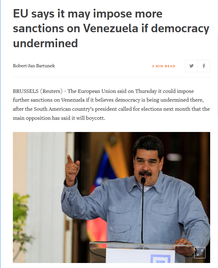 Reuters: EU says it may impose more sanctions on Venezuela if democracy undermined