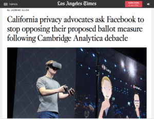 Facebook makes its own reality through lobbying efforts (LA Times, 3/20/18).