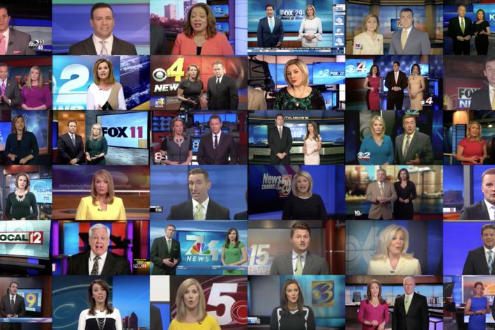 Sinclair news anchors recite a script in unison (Deadspin)
