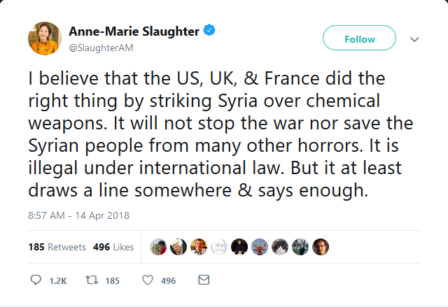 Tweet from Anne-Marie Slaughter endorsing airstrikes on Syria