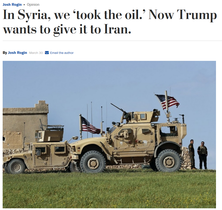 WaPo: In Syria, We 'Took the Oil.' Now Trump Wants to Give It to Iran