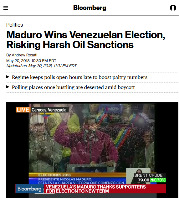 Bloomberg: Maduro Wins Venezuelan Election, Risking Harsh Oil Sanctions