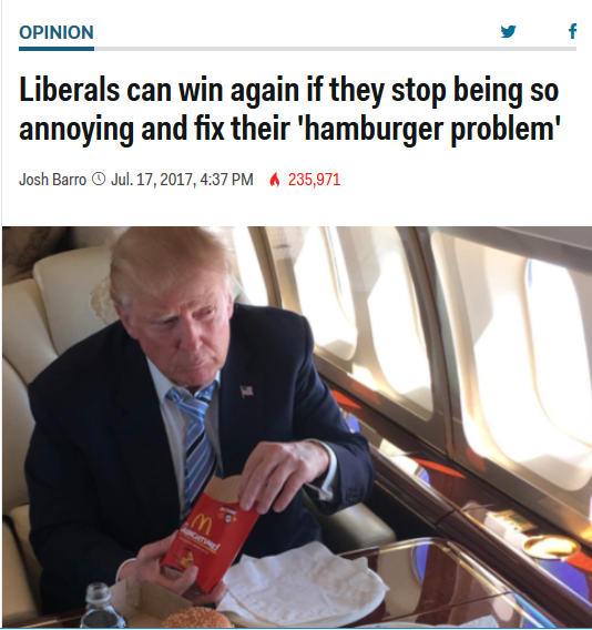 Business Insider: Liberals Can Win Again if They Stop Being So Annoying and Fix Their Hamburger Problem