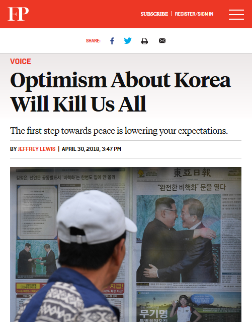 Foreign Policy: Optimism About Korea Will Kill Us All
