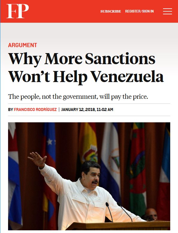 Foreign Policy: Why More Sanctions Won't Help Venezuela