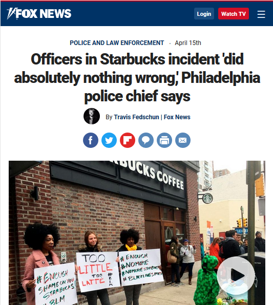 Fox News: Officers in Starbucks incident 'did absolutely nothing wrong,' Philadelphia police chief says