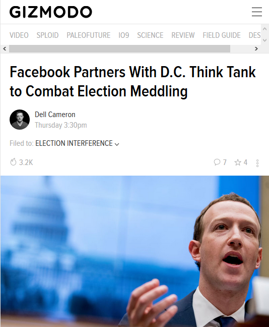 Gizmodo: Facebook Partners With D.C. Think Tank to Combat Election Meddling