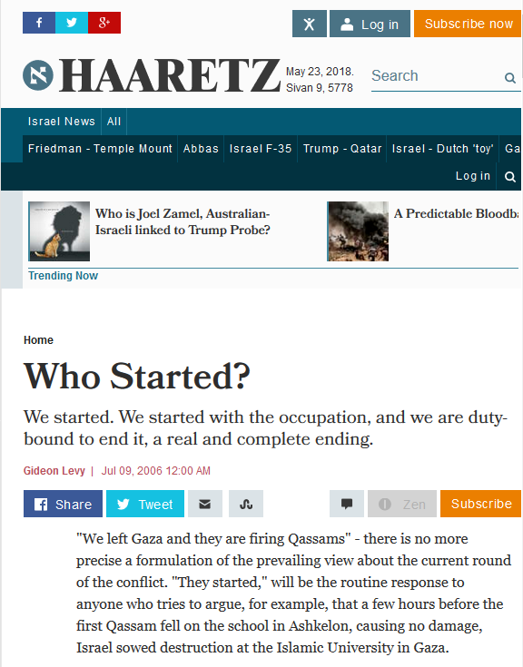 Haaretz: Who Started?