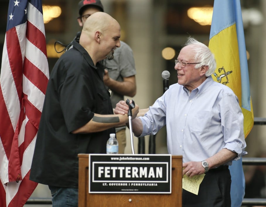 John Fetterman with Bernie Sanders