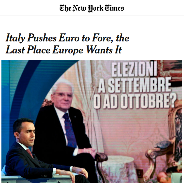 NYT: Italy Pushes Euro to Fore, the Last Place Europe Wants It