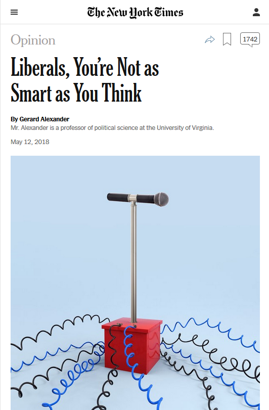 NYT: Liberals, You're Not as Smart as You Think
