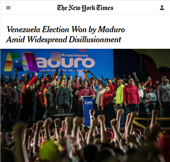 NYT: Venezuela Election Won by Maduro Amid Widespread Disillusionment