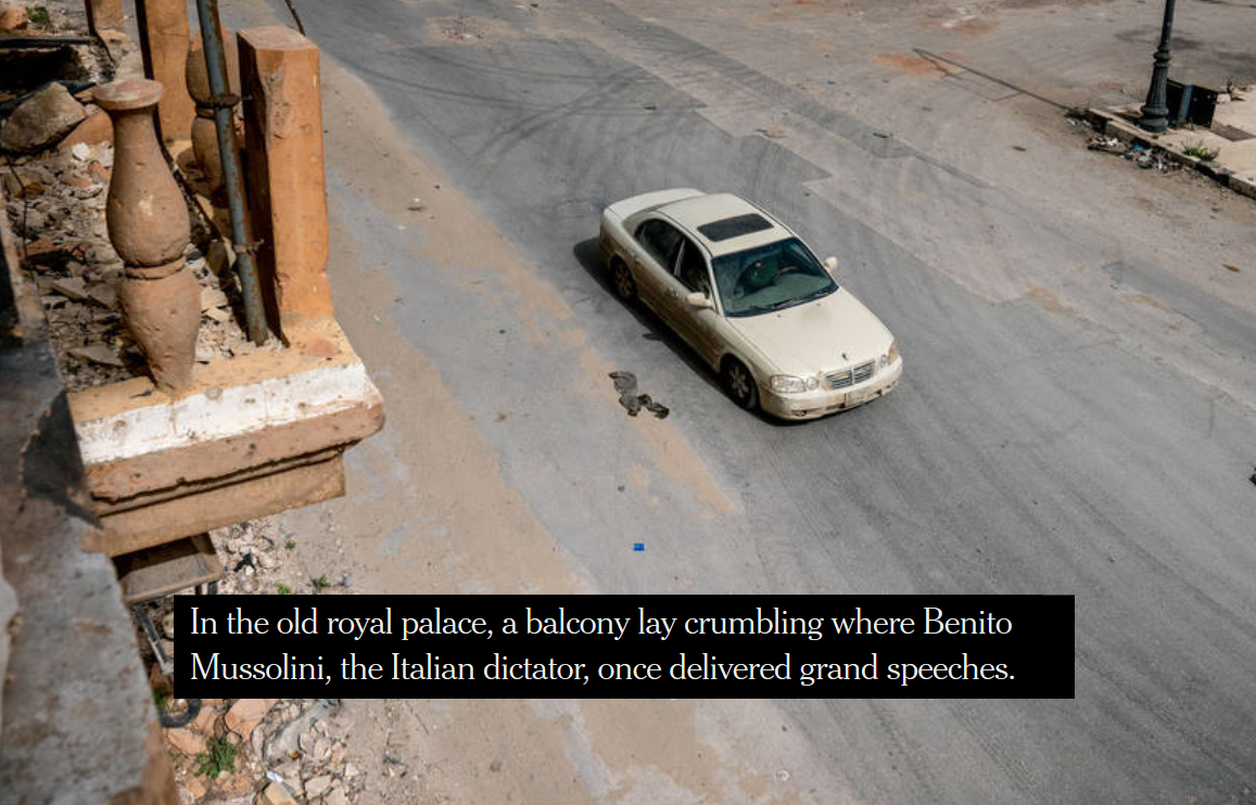 NYT: In the old royal palace, a balcony lay crumbling where Benito Mussolini...once delivered grand speeches.