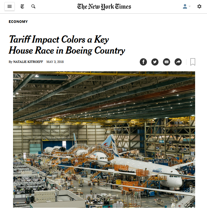 New York Times: Tariff Impact Colors a Key House Race in Boeing Country