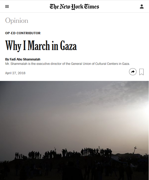 NYT: Why I March in Gaza