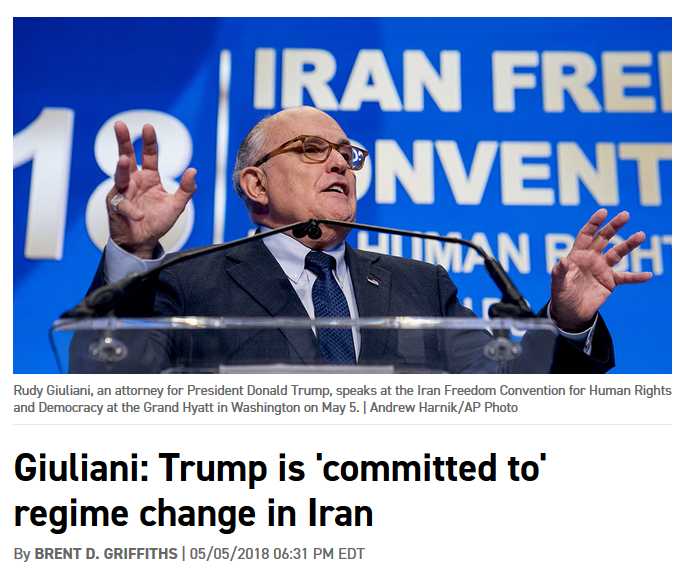 Politico: Giuliani: Trump Is 'Committed to' Regime Change in Iran