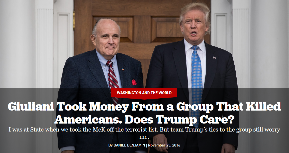 Politico: Giuliani Took Money From a Group That Killed Americans. Does Trump Care?