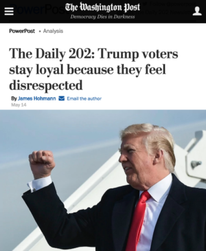 WaPo: Trump Voters Stay Loyal Because They Feel Disrespected