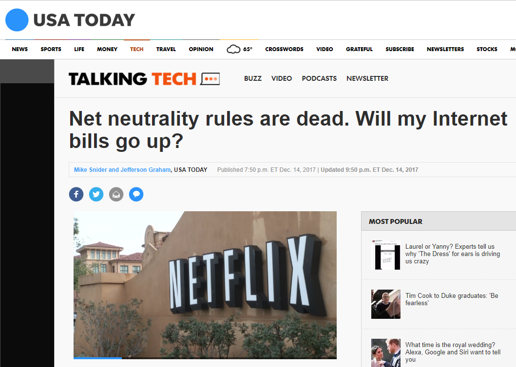 USA Today: Net Neutrality Rules Are Dead. Will My Internet Bills Go Up?