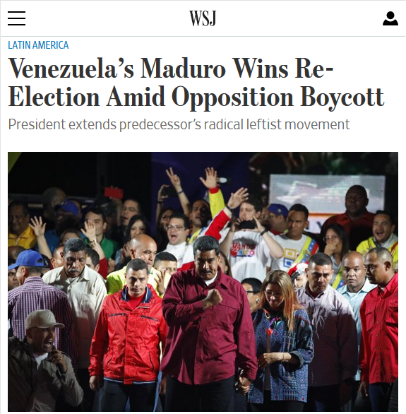 WSJ: Venezuela's Maduro Wins Re-Election Amid Opposition Boycott