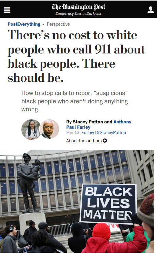 WaPo: There's No Cost to White People Who Call 911 About Black People