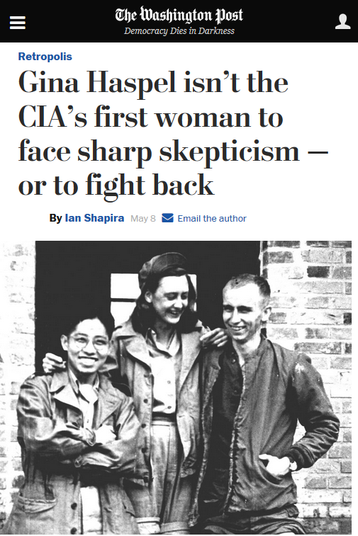 WaPo: Gina Haspel Isn't the CIA's First Woman to Face Sharp Skepticism--or to Fight Back