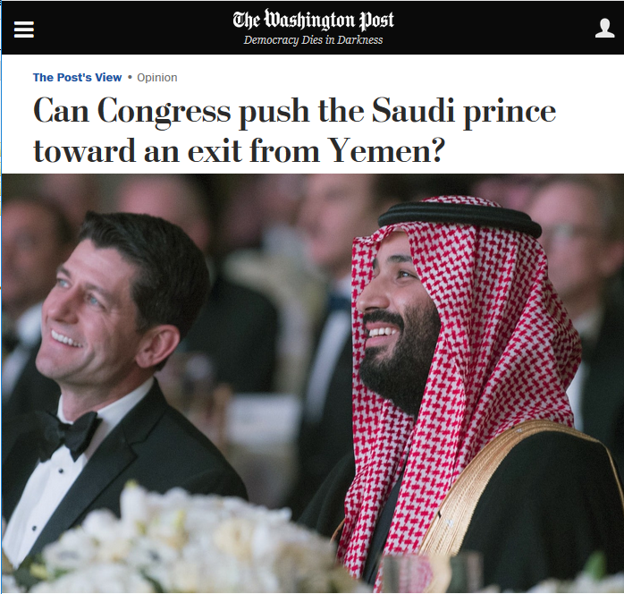 WaPo: Can Congress push the Saudi prince toward an exit from Yemen?