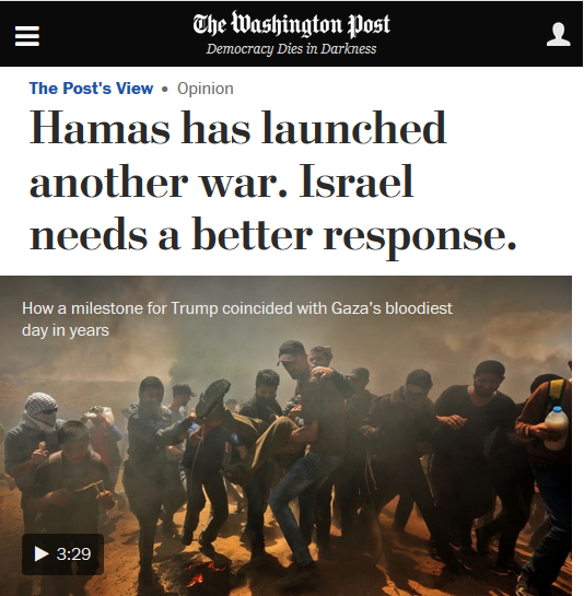 WaPo: Hamas Has Launched Another War. Israel Needs a Better Response