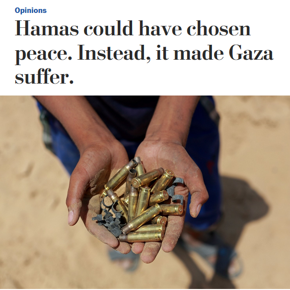 WaPo: Hamas Could Have Chosen Peace. Instead, It Made Gaza Suffer