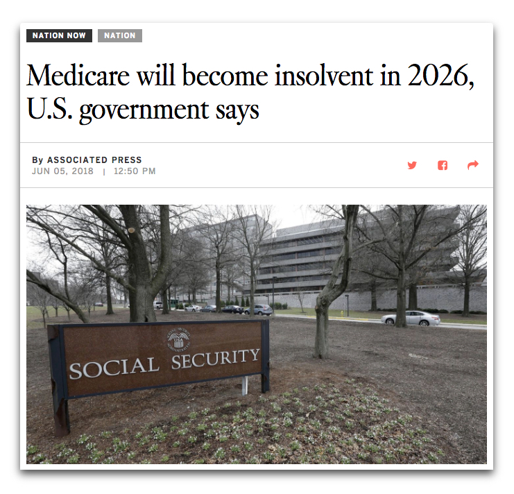 AP: Medicare Will Become Insolvent in 2026, US Government Says