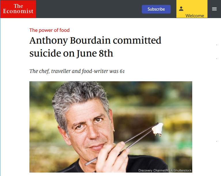 Economist: Anthony Bourdain committed suicide on June 8th