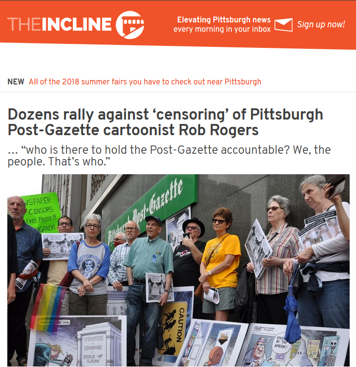 Incline: Dozens rally against 'censoring' of Pittsburgh Post-Gazette cartoonist Rob Rogers