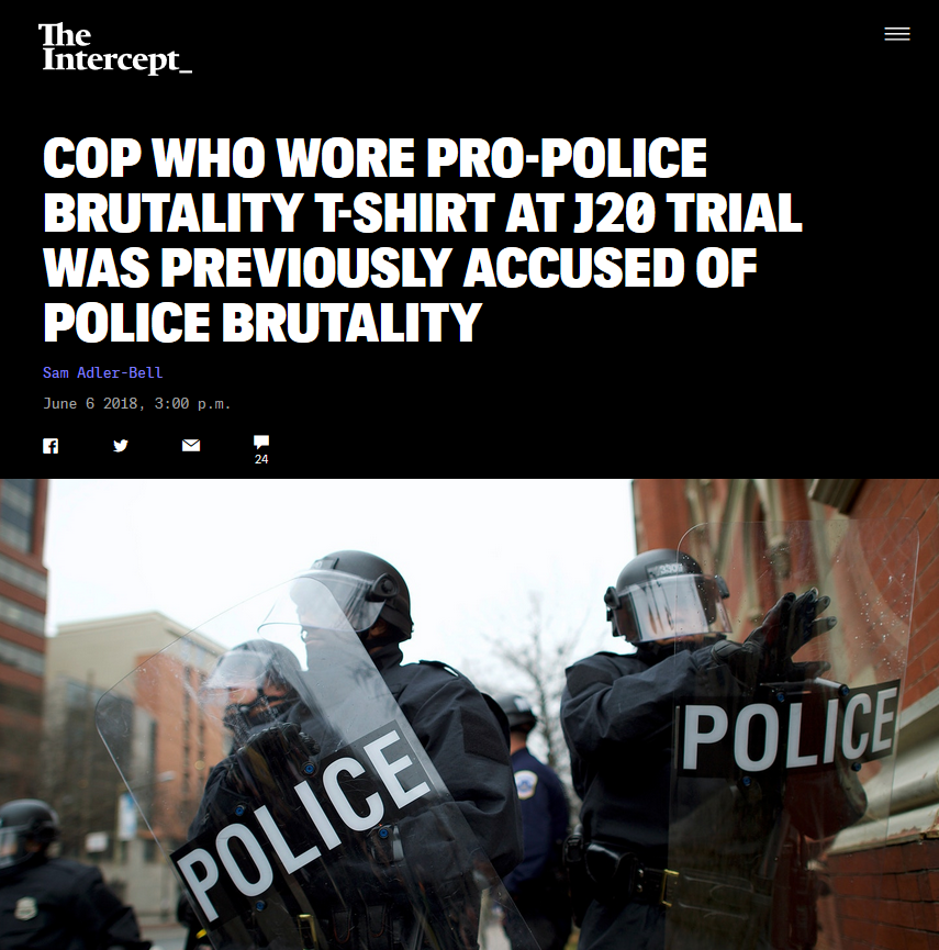 Intercept: Cop Who Wore Pro-Police Brutality T-Shirt at J20 Trial Was Previously Accused of Police Brutality