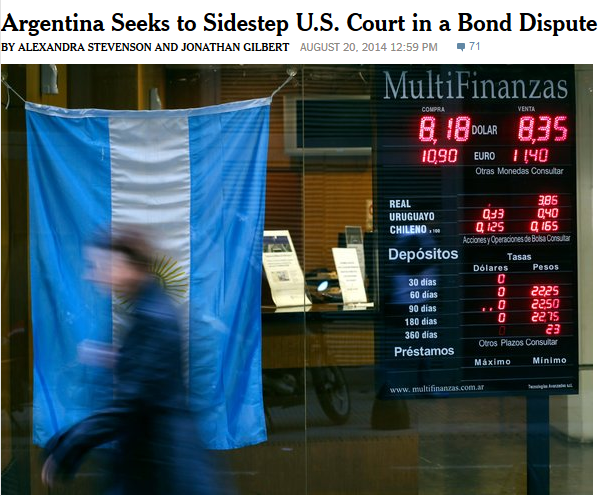 NYT: Argentina Seeks to Sidestep US Court in a Bond Dispute