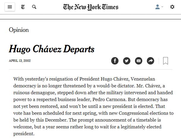 NYT: Hugo Chavez Departs