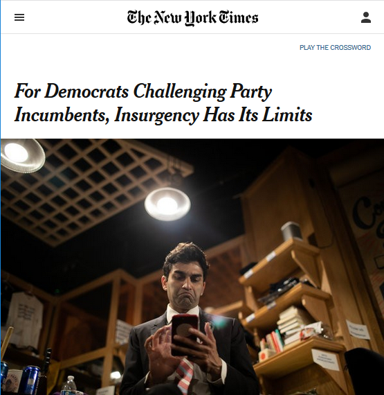 NYT: For Democrats Challenging Party Incumbents, Insurgency Has Its Limits