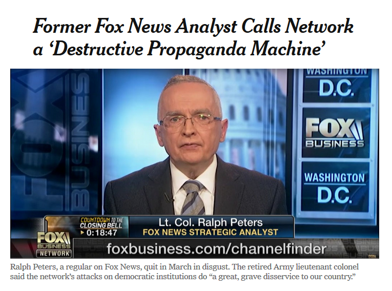 NYT: Former Fox News Analyst Calls Network a 'Destructive Propaganda Machine'