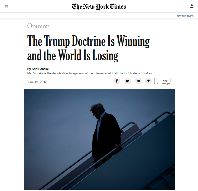 NYT: The Trump Doctrine Is Winning and the World Is Losing