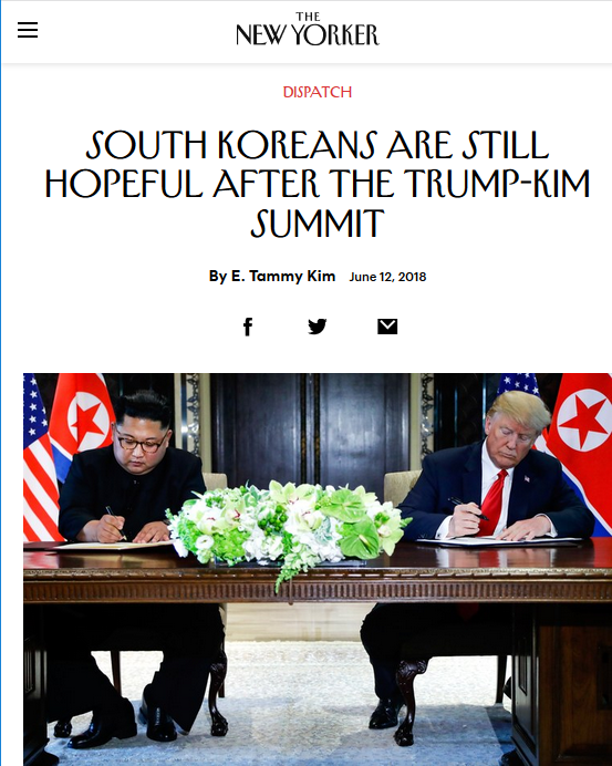 New Yorker: South Koreans Are Still Hopeful After the Trump-Kim Summit