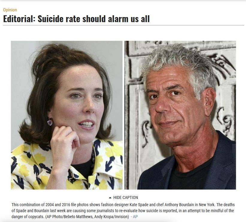 Providence Journal: Suicide Rate Should Alarm Us All