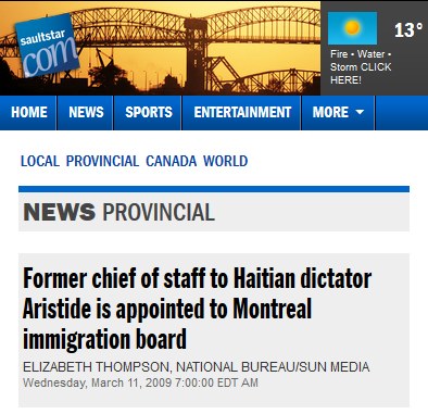 Sun Media: Former chief of staff to Haitian dictator Aristide is appointed to Montreal immigration board