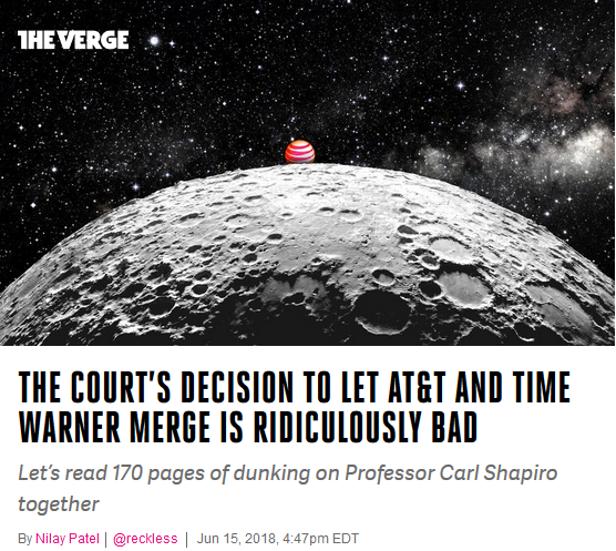 Verge: The court's decision to let AT&T and Time Warner merge is ridiculously bad
