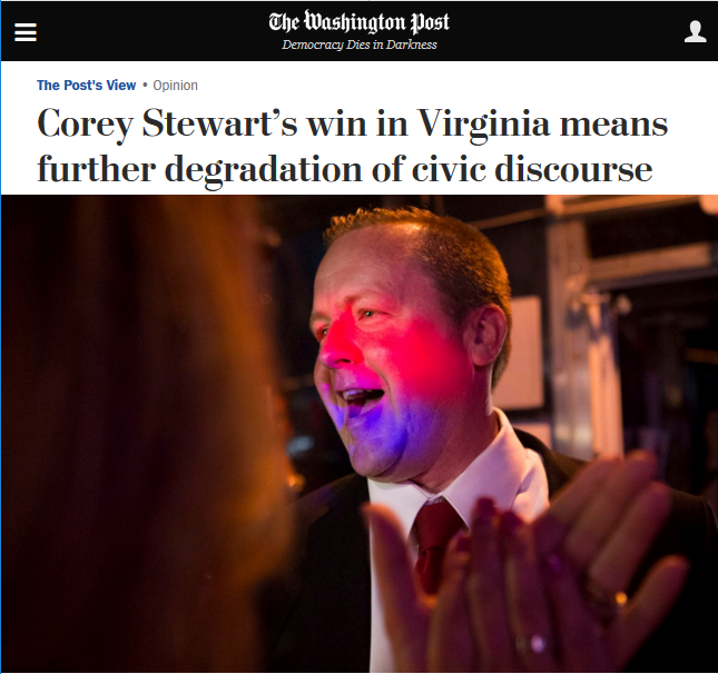 WaPo: Corey Stewart's win in Virginia means further degradation of civic discourse