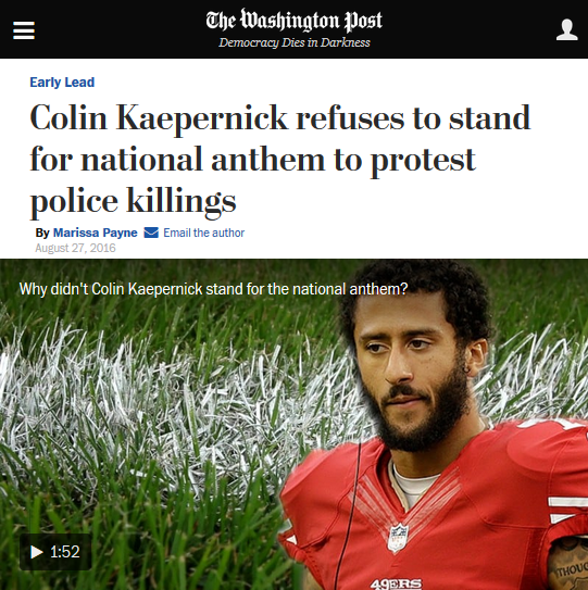 WaPo: Colin Kaepernick refuses to stand for national anthem to protest police killings