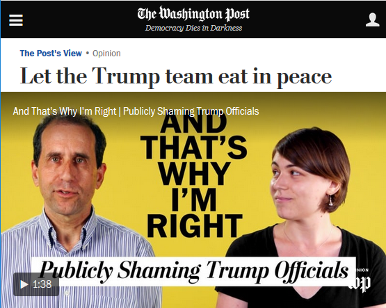 WaPo: Let the Trump Team Eat in Peace