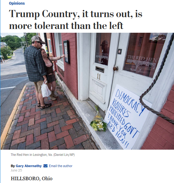 WaPo: Trump Country, it turns out, is more tolerant than the left
