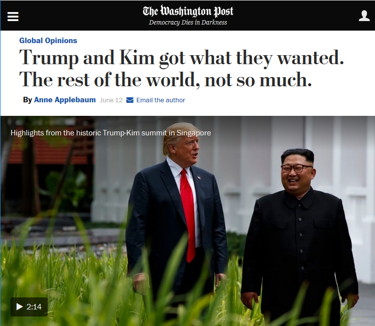 WaPo: Trump and Kim got what they wanted. The rest of the world, not so much.